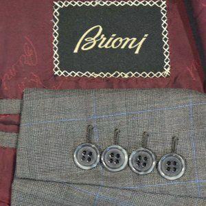 44S Brioni Gray Blue Plaid Wool/SILK BLAZER
